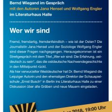 Bernd, Buch, Bürger. Gäste: Jana Hensel, Wolfgang Engler